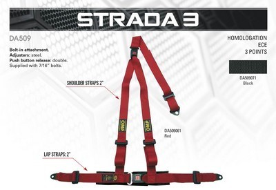 3 POINTS HARNESS RED OMP STRADA 3