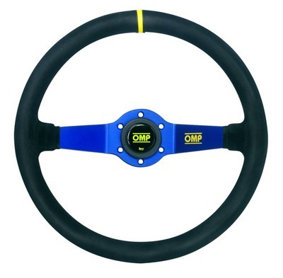 OMP RALLY STEERING WHEEL  2 SPOKES BLUE  BLACK SUEDE RIM