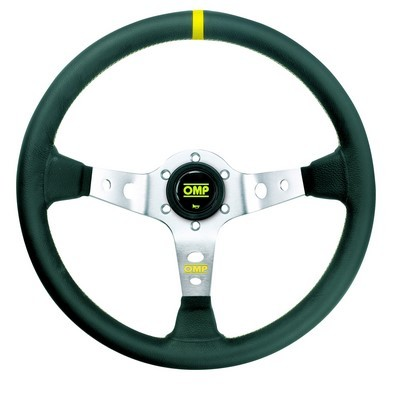 STEERING WHEEL OMP CORSICA SILVER / BLACK SMOOTH SKIN