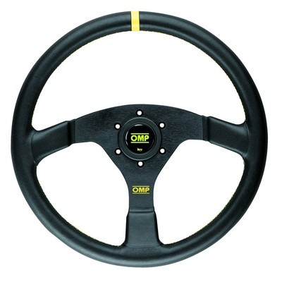 VELOCITA 'OMP STEERING WHEEL  3 BLACK BLACK SPOKES LEATHER RIM