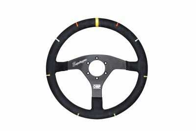 OMP FLAT IN ALUMINIUM WHEEL DIAM  350 MM  BLACK WITH COLORS