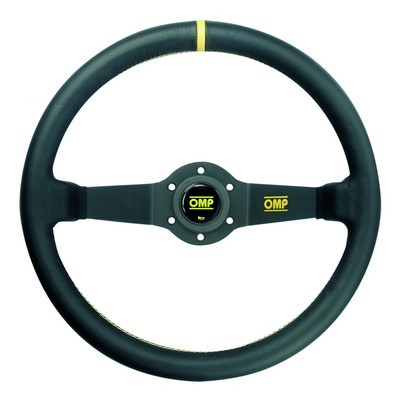 BLACK LEATHER STEERING WHEEL OMP RALLY 35CM 2SP