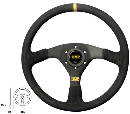 380 OMP STEERING WHEEL BLACK / BLACK