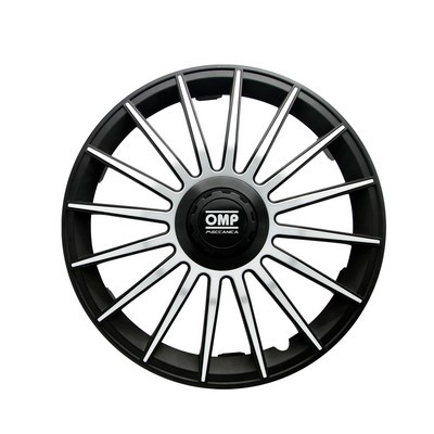 "HUBCAPS OMP 14 ""BLACK / SILVER"