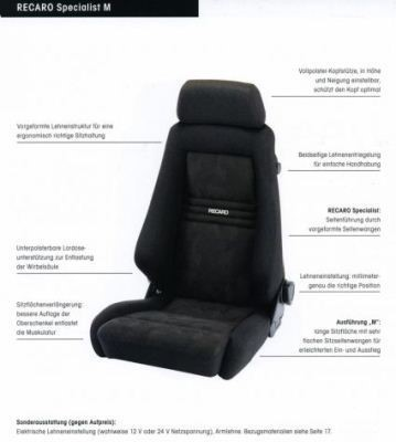 RECARO SPECIALIST M (LX/W) DINAMICA  (MADE BY ORDER)/ARTIFICIAL LEATHER BLACK PILOT&COPILOT