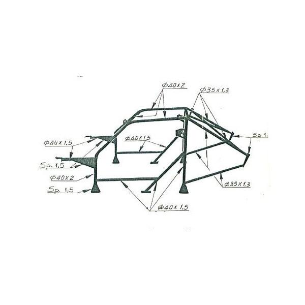 SÉRIE DELTA OMP CAGE 1º LANCIA HF 4WD-INT. 16V 79_94 MP-W CR-MO