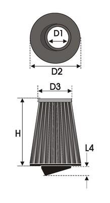 UNIVERSAL FILTER TAPERED BI-CONE K4.70BC