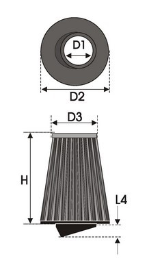 UNIVERSAL FILTER TAPERED BI-CONE K6.70BC