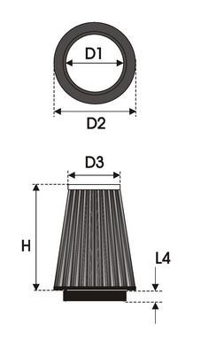 UNIVERSAL FILTER TAPERED BI-CONE K3.150BC