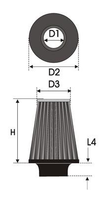 UNIVERSAL FILTER TAPERED BI-CONE K25.375BC