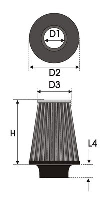 UNIVERSAL FILTER TAPERED BI-CONE K25.385BC