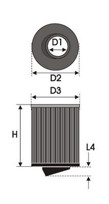 UNIVERSAL FILTER CILINDRICAL BI-CONE B6.70BC